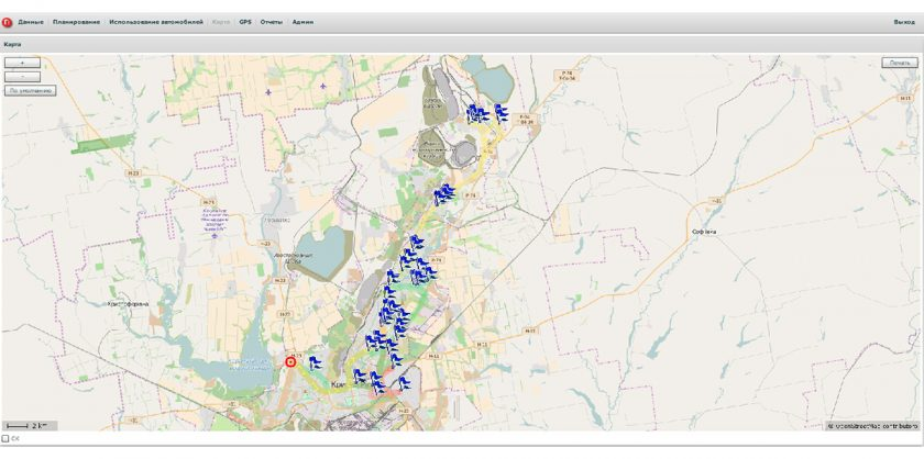 Карта OSM с маршрутами