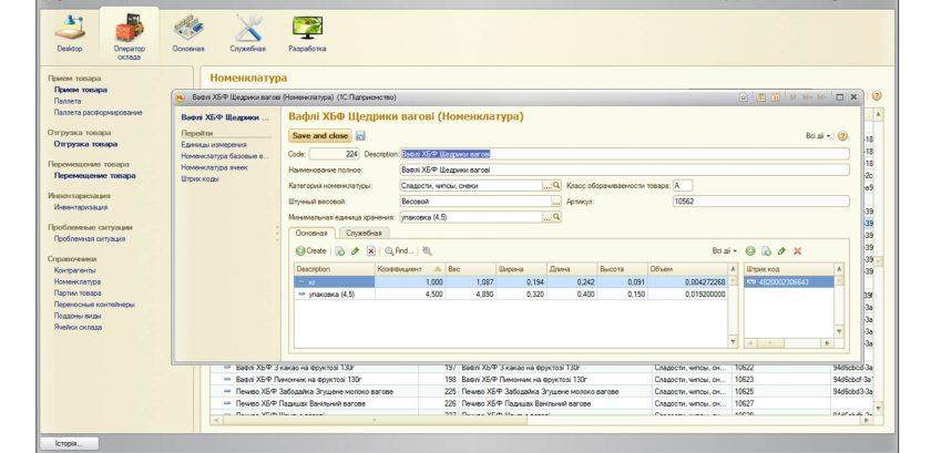 Система управления складом - Номенклатура