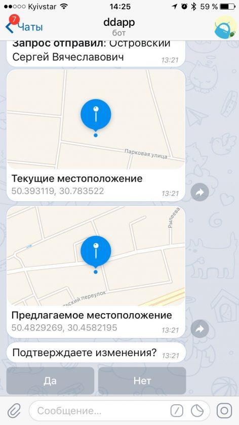 Soglasovanie izmeneniya pervichnyh koordinat v chatbote Telegram