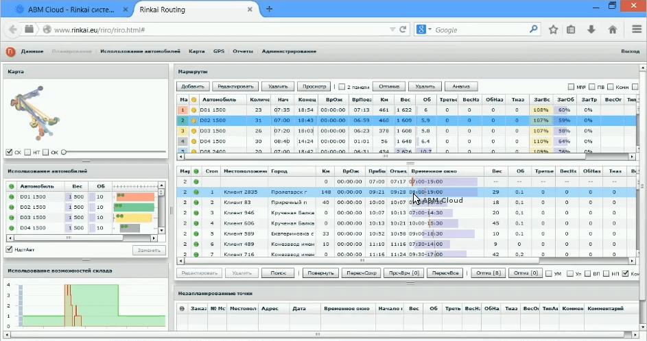 система планирования грузоперевозок ABM Rinkai TMS - объемные параметры загрузки транспорта
